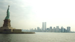 Statue of Liberty, the skyline - Click for a bigger image